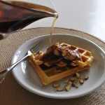 Buttermilk Waffles With Caramelized Bananas and Maple Syrup