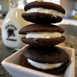 Chocolate Whoopie Pies with White Cream Cheese Filling