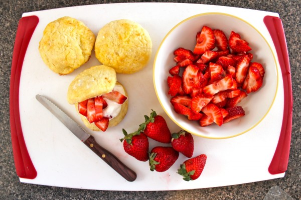 Lemon Scones with Strawberry Cream Filling
